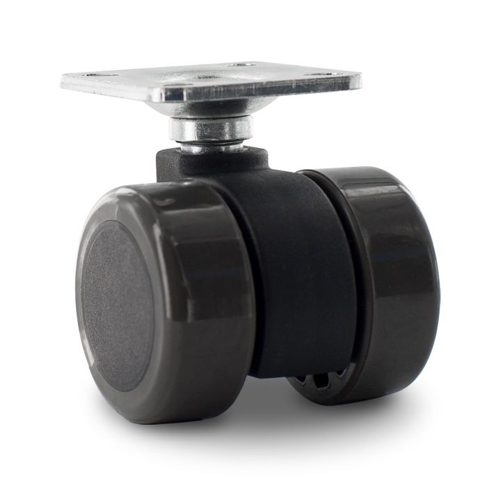 1-1/2in Dia | Grey Swivel Non Hooded Mity Mite Twin Wheel Furniture Caster | 1-1/2in Square Top Plate