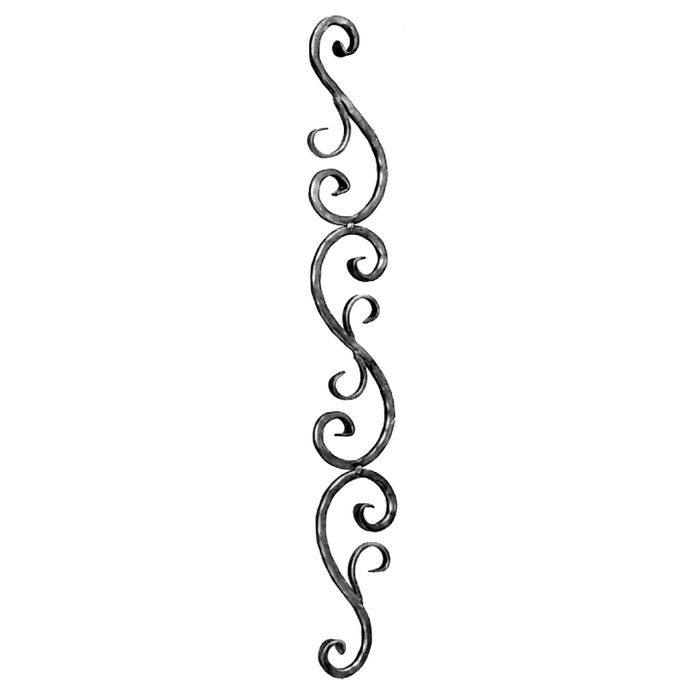 "1/2"" Square x 4-15/16"" H x 35-7/16 H Wrought Iron Balusters"