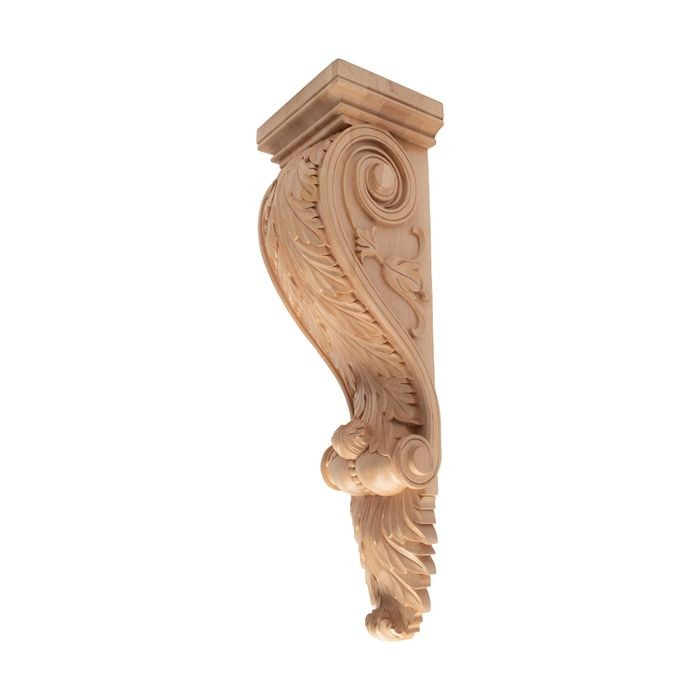 10-3/4in W x 36in H | Hand Carved Unfinished | Solid North American Hardwood Hard Maple Corbel | RWC331 Series