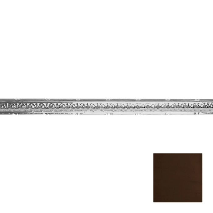 Tin Plated Stamped Steel Cornice | 2-1/2in H x 2-1/2in Proj | Antique Coco Finish | 4ft Long