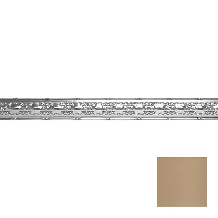 Tin Plated Stamped Steel Cornice | 4in H x4in Proj | Enchanted Sand Finish | 4ft Long