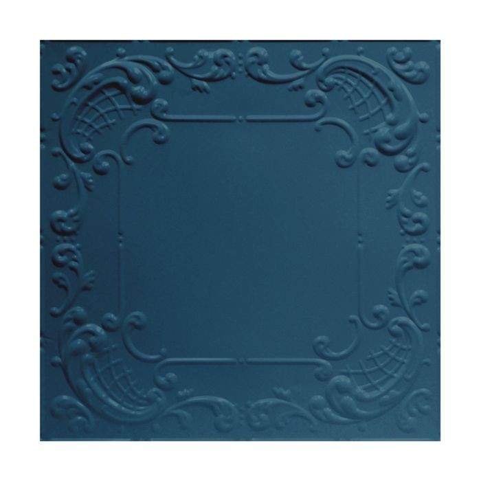 Tin Plated Stamped Steel Ceiling Tile | Nail Up/Glue Up Ceiling Tile | 2ft Sq | Midnight Blue Finish