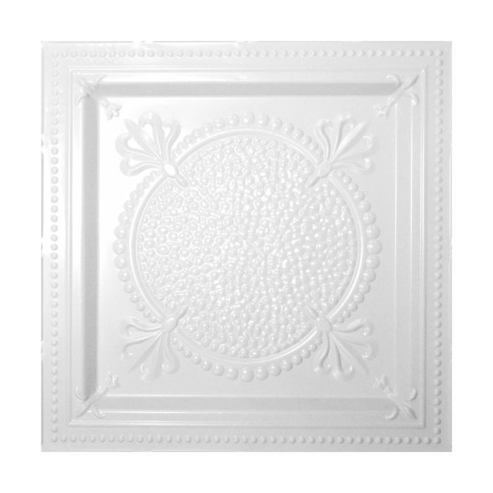 Tin Plated Stamped Steel Ceiling Tile | Lay In | 2ft Sq | White Finish