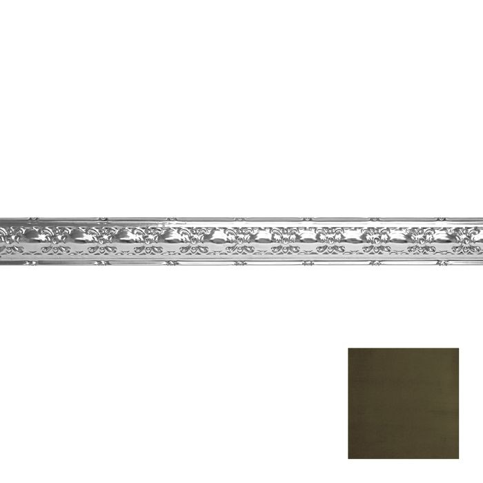 Tin Plated Stamped Steel Cornice | 4in H x4in Proj | Antique Sage Finish | 4ft Long