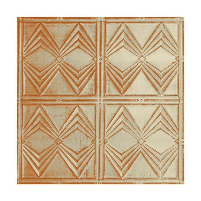 Tin Plated Stamped Steel Ceiling Tile | Nail Up/Glue Up Ceiling Tile | 2ft Sq | Antique White Copper Finish