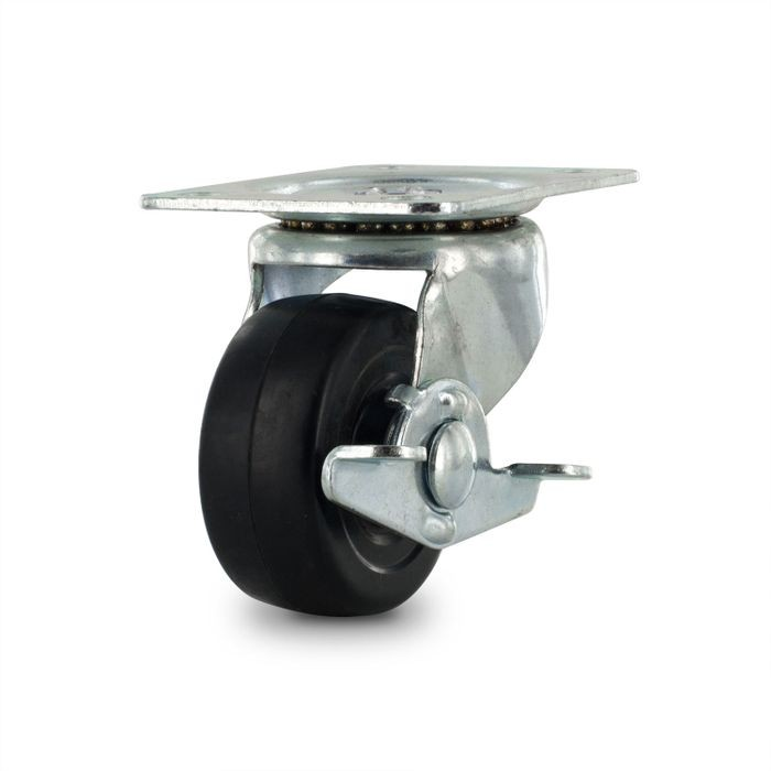 2-1/2in Dia | Black Swivel Import Series Industrial Caster with Brake | 2-3/4in x 3-13/16in Top Plate