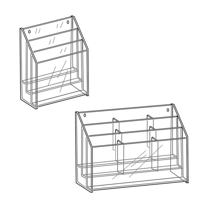 "11"" High x 8-1/2"" Wide 6 Pocket 3 Tier Acrylic Brochure Holder"