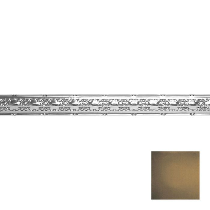 Tin Plated Stamped Steel Cornice | 4in H x4in Proj | Midnight Gold Finish | 4ft Long