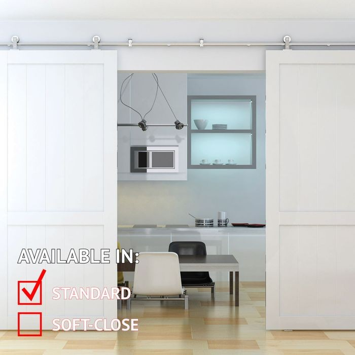 Sliding Barn Door Hardware Kits for Double Wood Doors Up to 34in W | Stainless Steel Finish | 135-3/4in Rail Length | DW03 Series