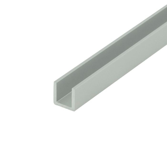 "1/4"" Clear Anodized (Satin) Finish Aluminum U Channel Moulding 12' Length"