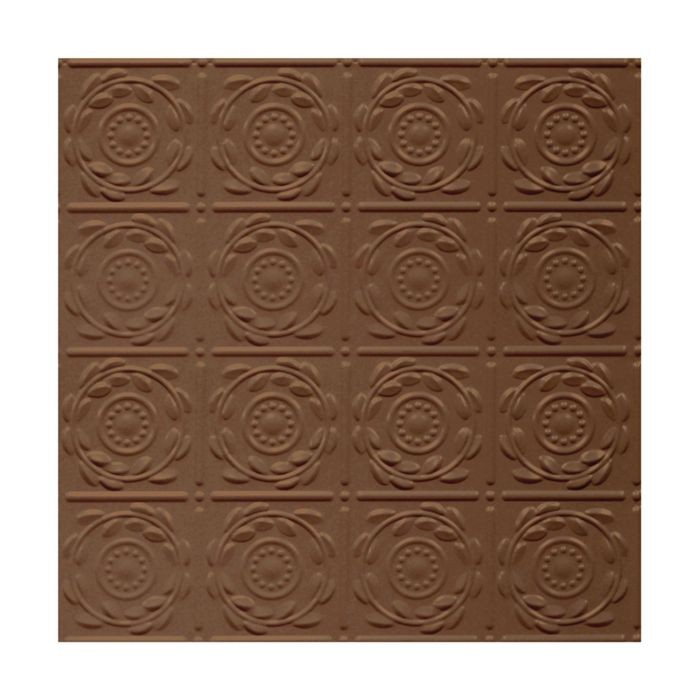 Tin Plated Stamped Steel Ceiling Tile | Nail Up/Glue Up Ceiling Tile | 2ft Sq | Koko Brown Finish