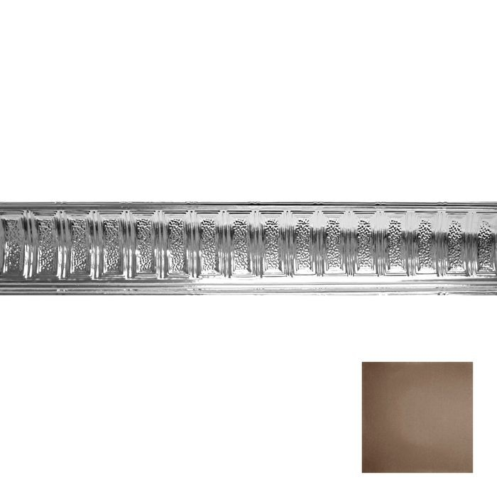Tin Plated Stamped Steel Cornice | 6in H x 6in Proj | Antique Oil Rubbed Silver Finish | 4ft Long