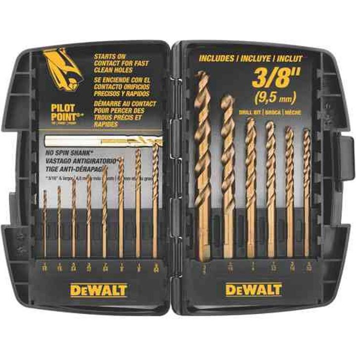 14-Piece Cobalt Pilot Point Twist Drill Bit Set