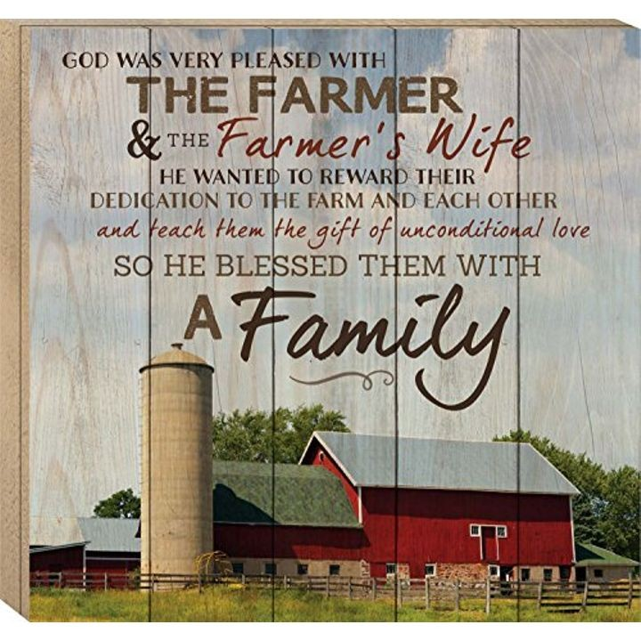 """God Made a Farmer"" Paul Harvey Red Barn Wood Boxed Pallet Wall Art Sign Plaque - 17"" x 18"""