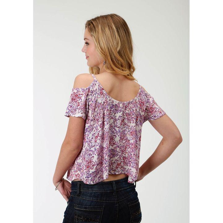 80237549937d5 Womens Floral Prt Cold Shoulder Blouse Short Sleeve Shirt ...