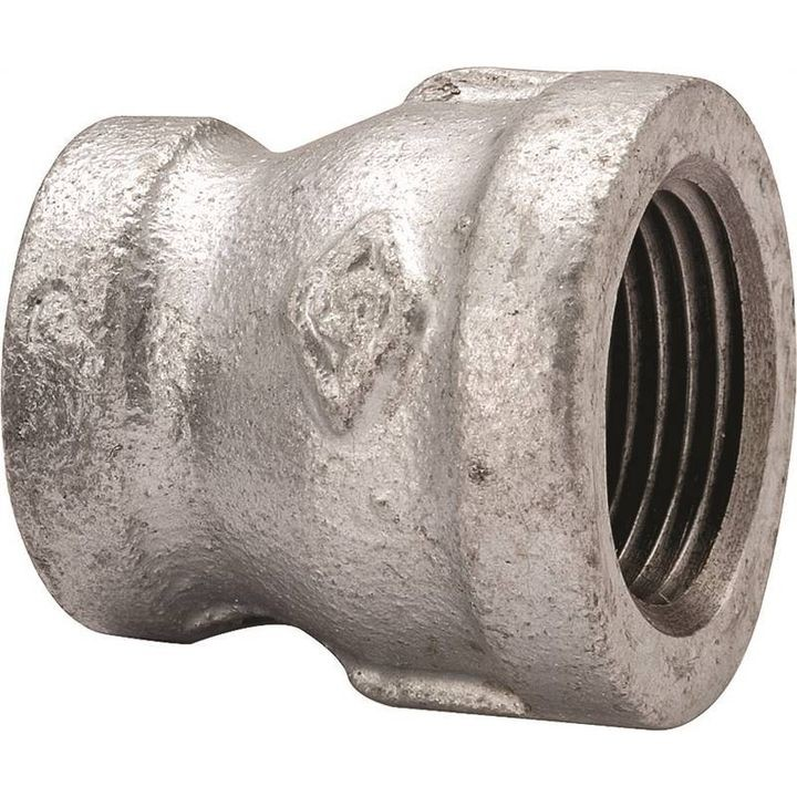"1/2"" x 3/8"" Threaded Galvanized Pipe Reducing Coupling"