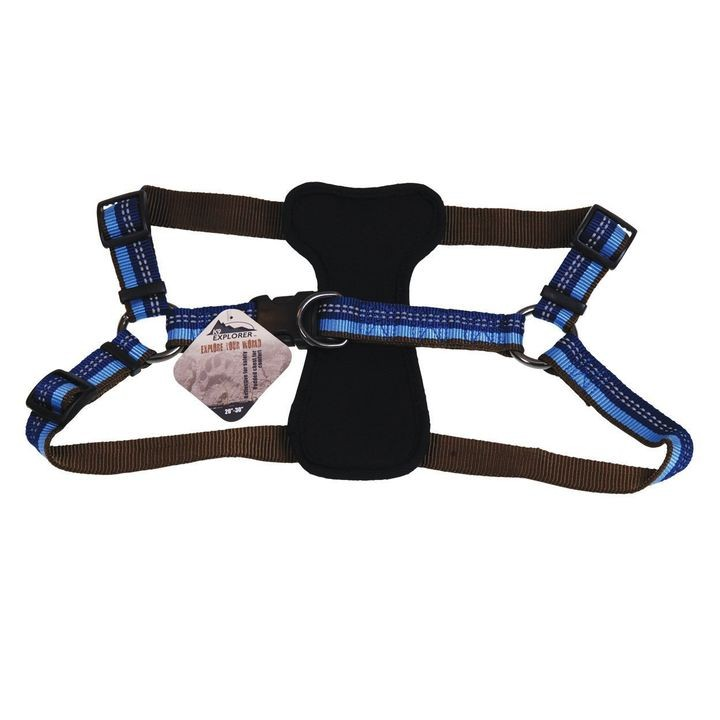 "1"" x 30"" K9 Explorer Reflective Sapphire Adjustable Padded Dog Harness"