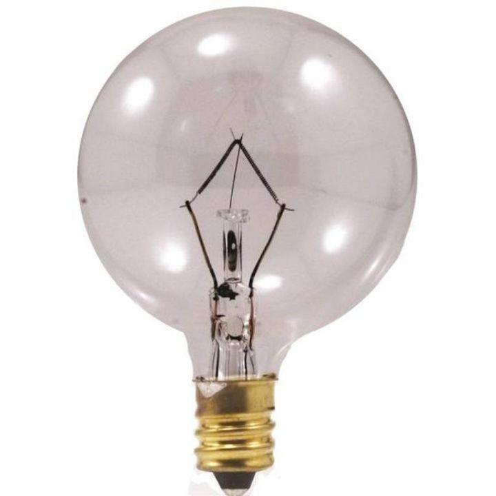 60 Watt G16 5 Decorative Incandescent Candelabra Base Clear Globe