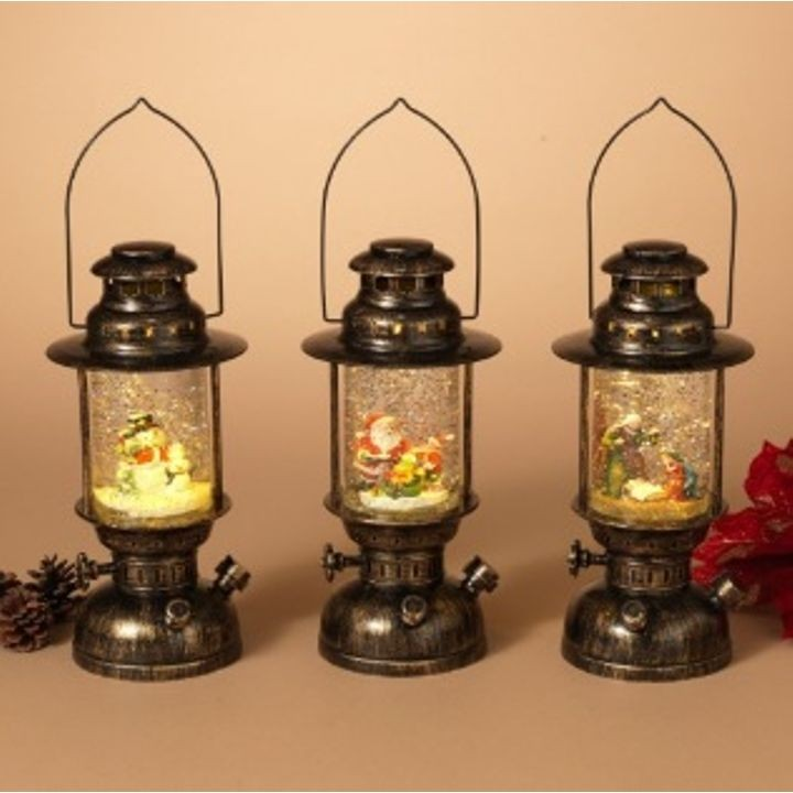 "10"" Battery-Operated Spinning Water Globe Lanterns with Holiday Scene"