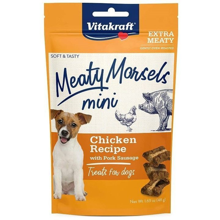 1.69 Oz Meaty Morsels Mini Chicken Recipe with Pork Sausage Dog Treat