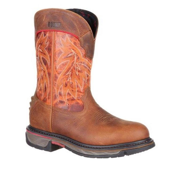 "Men's 11"" Pull-On Burnt Orange & Brown Round Toe Memory Foam Boot"