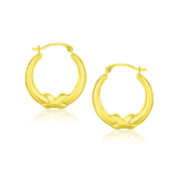 10k Yellow Gold X Motif Round Shape Hoop Earrings