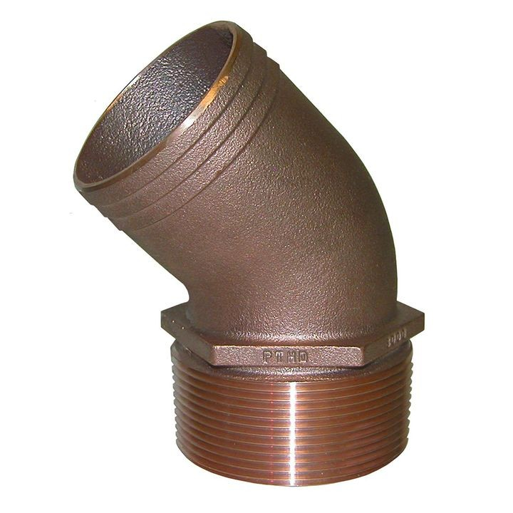 "1-1/4"" NPT Bronze 45 Degree Pipe to 1-1/4"" Hose"