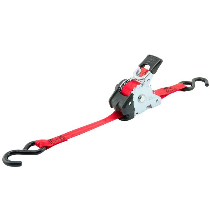 "1"" x 10' 1200 lb Re-Tractable Ratchet Strap in a Bag - Red"