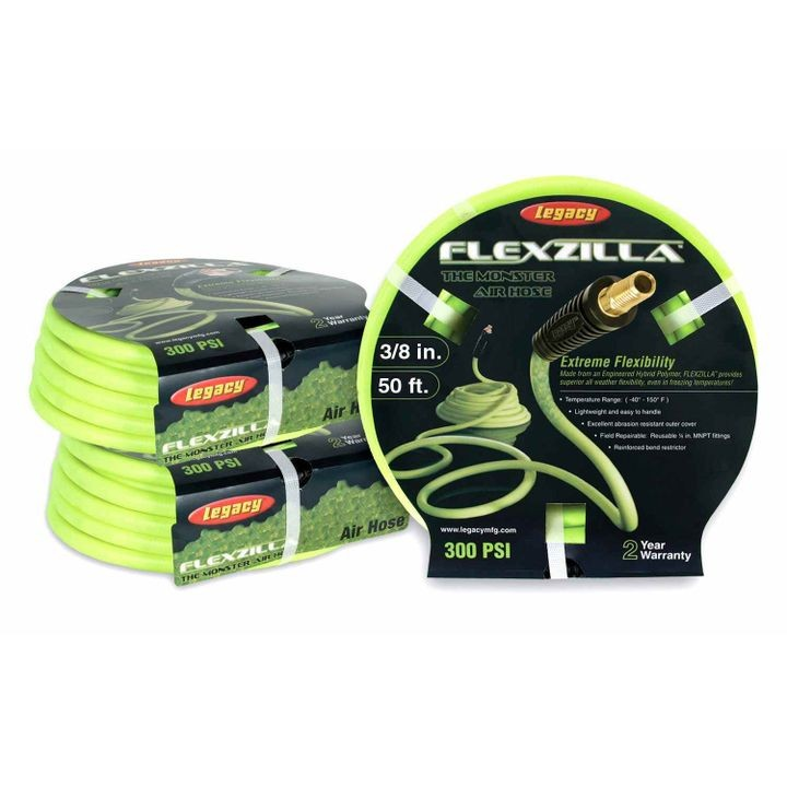 "Flexzilla 3/8"" x 50"" Air Hose With 1/4"" MNPT Ends"