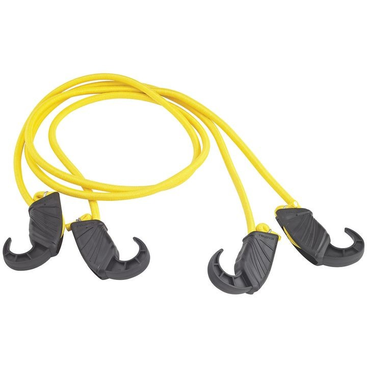 0391227 Adjustable Bungee Cord, 8 Mm Dia X 48 In L, Plastic Hook, Non Scratch Durable Hook End, Yellow
