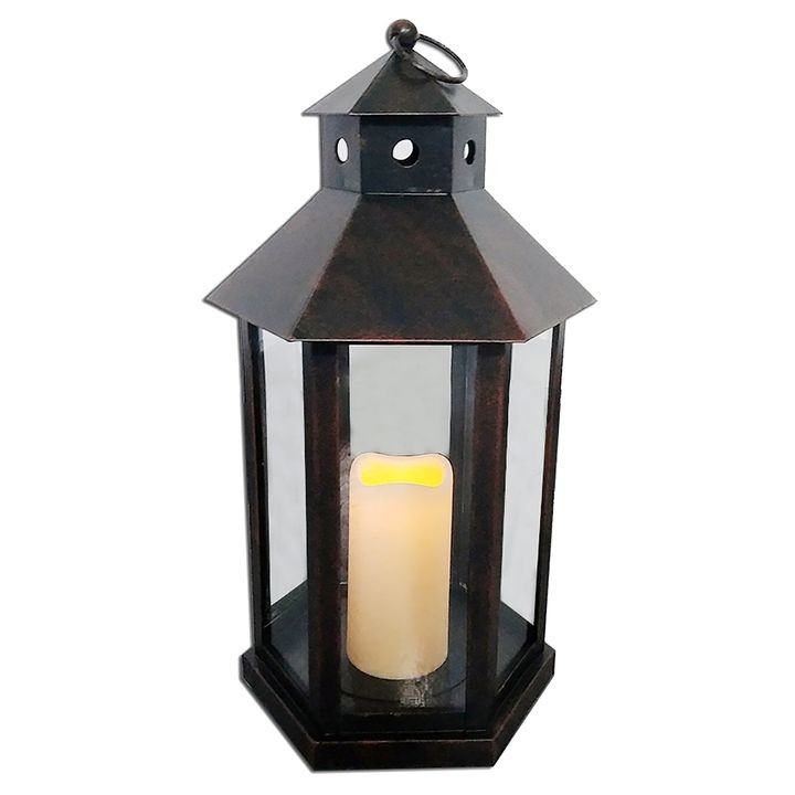 "13"" Metal Black Led Candle Lantern"