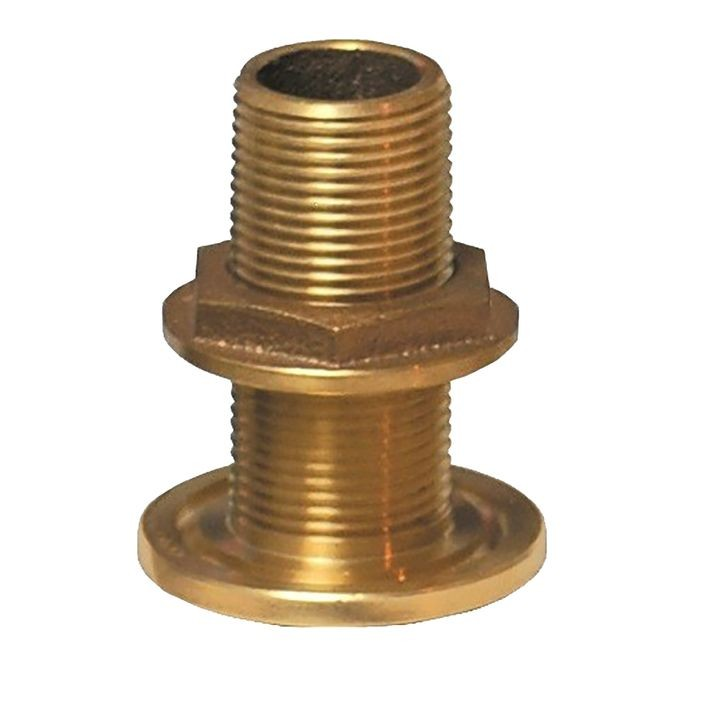 "1-1/2"" NPS NPT Combo Bronze Thru-Hull Fitting w/Nut"