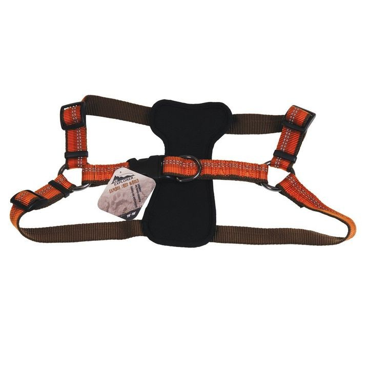 "1"" x 30"" K9 Explorer Reflective Campfire Orange Adjustable Padded Dog Harness"