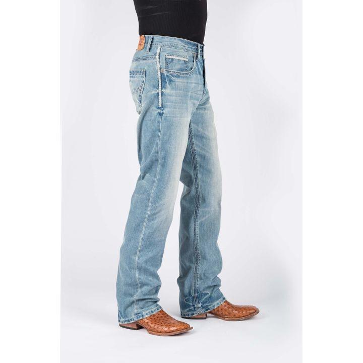 749fe9137f02 Mens Lite Wash Multi Row White Deco Stitch Jeans