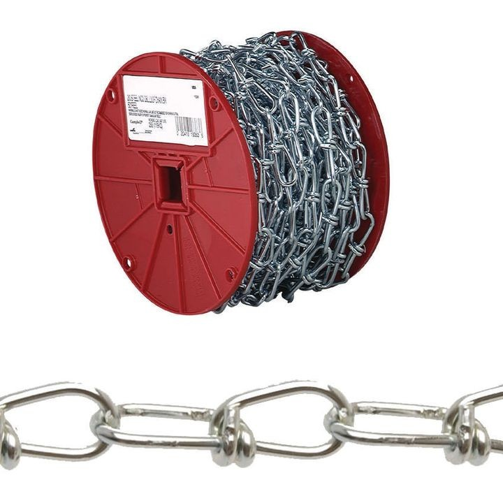 072 2027 Double Loop Chain, 2/0 X 155 Ft, 255 Lb, Low Carbon Steel