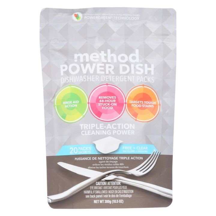 - Power Dish Dishwasher Detergent Packs - Free And Clear - 20 Packs - Case Of 6 - 10.5 Oz.