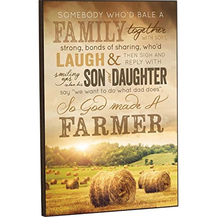 """God Made a Farmer"" Hay Bales Wood Wall Art Sign Plaque - 18"" x 12"""