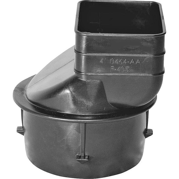 0464aa Heavy Duty Single Wall Downspout Adapter, 4 X 3 1/4 X 2 1/2 In, Downspout X Pipe, Polyethylene