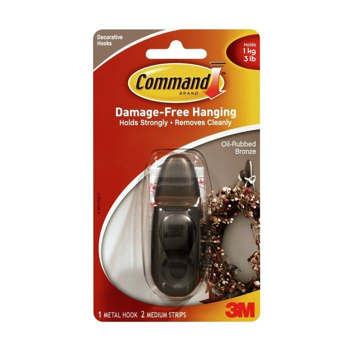 Command™ Oil Rubbed Bronze Medium Forever Classic Single Hook w/ 2 Strips