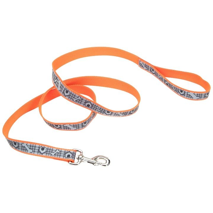 "1"" x 6' Lazer Brite® Reflective Orange DogHouses Dog Leash"