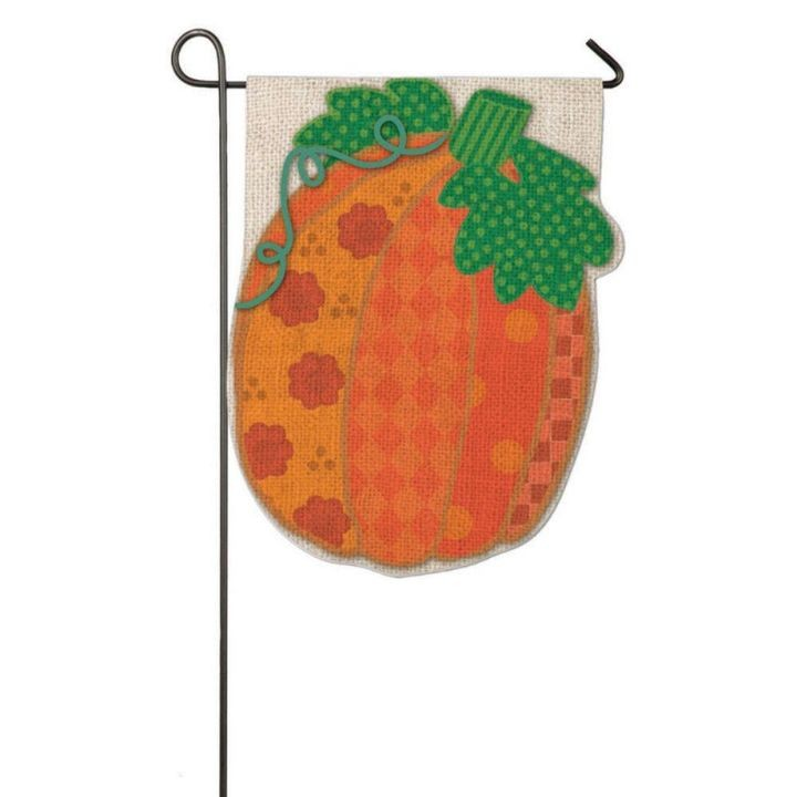 1 x1-1/2 feet Burlap Patchwork Pumpkin 2-Sided Garden Flag