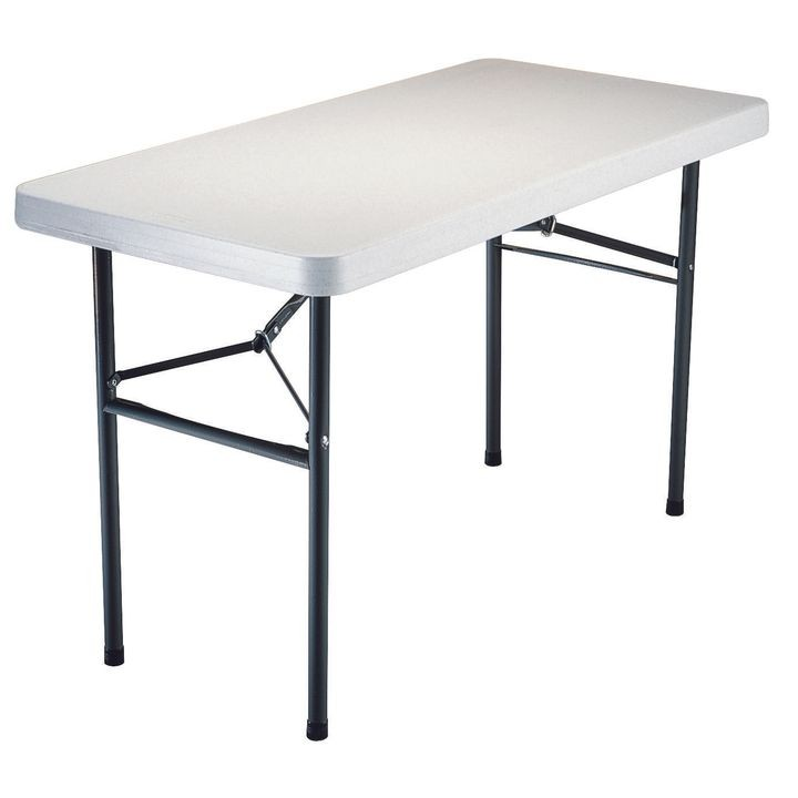 Lifetime Products 2940 Light Commercial Rectangular Folding Table 200 Lb Weight Capacity Gray White