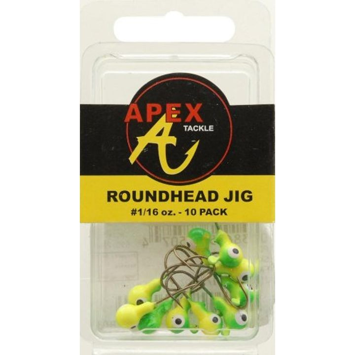 Jig Heads (Pack of 10), Yellow/Green, 1/16-Ounce