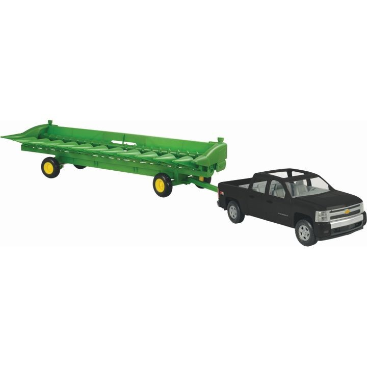 Big Farm John Deere 512C Corn Head & Header Cart with Chevy Pickup