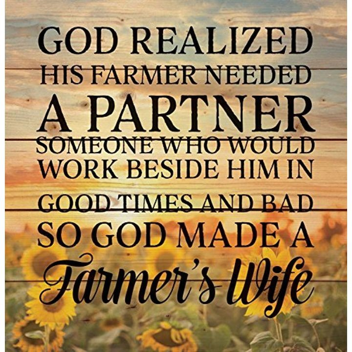 """So God Made a Farmer"" Sunrise Sunflowers Design,  Wood Pallet Wall Plaque - 17"" x 18"""