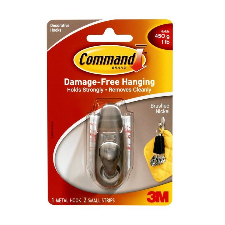 Command™ Brushed Nickel Small Forever Classic Single Hook w/ 2 Strips