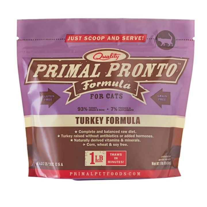 1 lb. Pronto Raw Frozen Turkey Formula For Cats