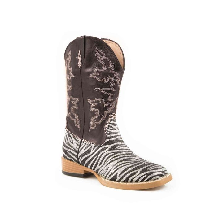 Little Girls' Western Bling Zebra Square Toe Boot