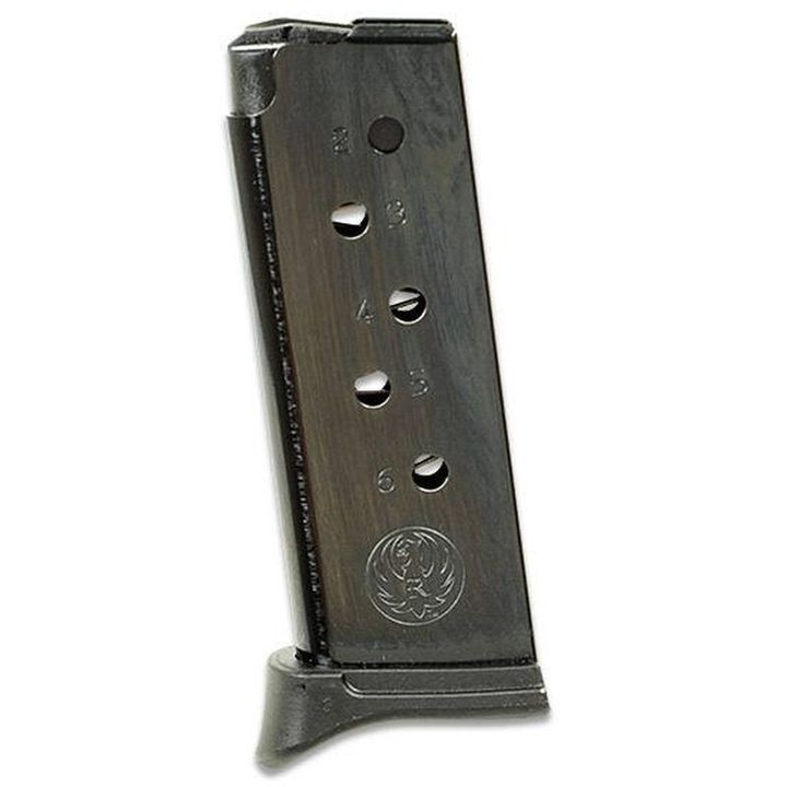 .380 ACP Magazine 6 Rounds Extended Base Polymer Black