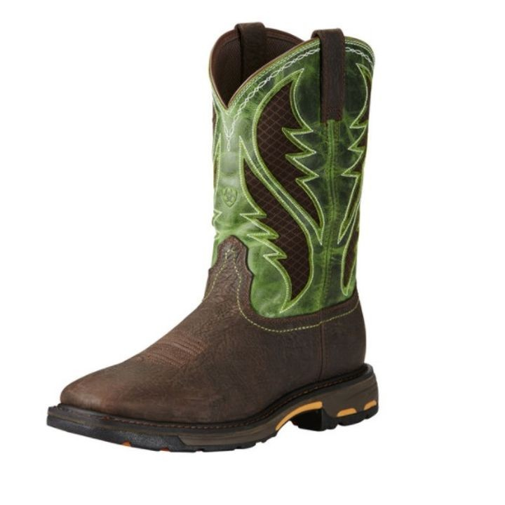 Ariat Workhog Wide Square Toe VentTEK Boot(Men's) -Bruin Brown/Grass Green Full Grain Leather Sale Affordable Explore Whole World Shipping Sale New Cheap Sale Discounts EPQJ81dH